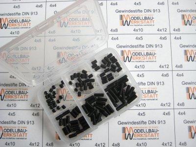 120 Stück Gewindestifte-Set (Wurmschrauben) M4 DIN 913 45H mit Kegelkuppe