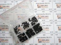 120 Stück Gewindestifte-Set M4 Innensechskant DIN 913 45H mit Kegelkuppe Inbus