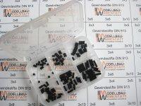 120 Stück Gewindestifte-Set M3 Innensechskant DIN 913 45H mit Kegelkuppe Inbus