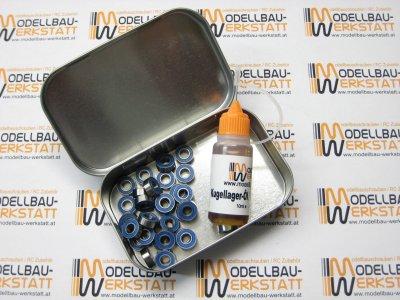 Kupplungslager-Set 30x Kugellager für Kupplung Glocke 1:8 5x10x4mm 2RS + Kugellageröl + Box