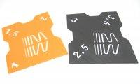RC Sturzlehre 1:8 Off-Road schwarz-orange 2 Platten 1°/1,5°/2° und 2,5°/3°/3,5° Quick Camber Gauge