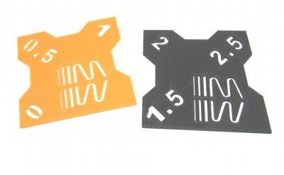 RC Sturzlehre 1:10 schwarz-orange 2 Platten 0°/0,5°/1° und 1,5°/2°/2,5° Quick Camber Gauge