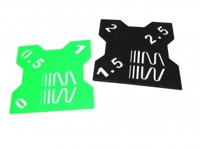 RC Sturzlehre 1:10 schwarz-grün 2 Platten 0°/0,5°/1° und 1,5°/2°/2,5° Quick Camber Gauge