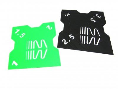 RC Sturzlehre 1:8 Off-Road schwarz-grün 2 Platten 1°/1,5°/2° und 2,5°/3°/3,5° Quick Camber Gauge